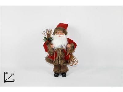 Babbo Natale nordico grande 40 cm vestito con decorazioni rosse