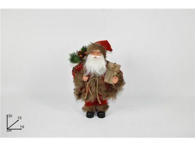 Babbo Natale nordico con pacco regalo 30 cm