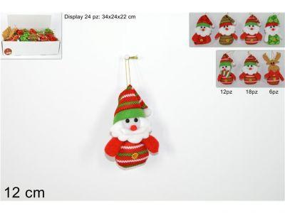 appendino in tessuto Babbo Natale pupazzo 12cm