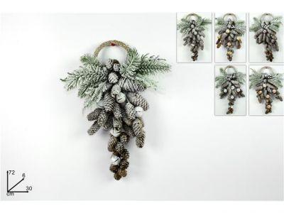 Dietro porta  pigne innevate decorato  con pigne e campanelline 72 cm