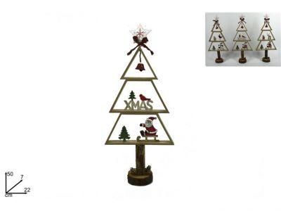 Albero legno con campana e fiocco decorazioni