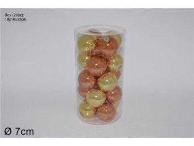 set 20 palle in vetro lucido colore oro 7 cm