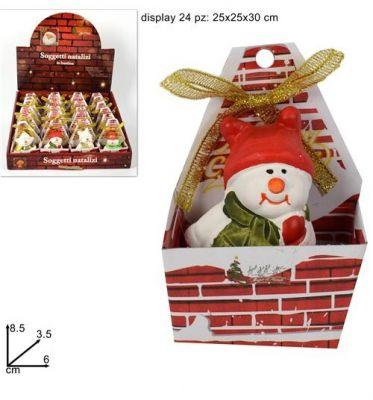 pupazzo di neve natalizio con scatola caminetto confezione regalo 8,5cm