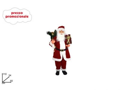 Babbo Natale con sacco alto 110cm grande con base di appoggio