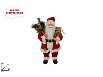 Babbo Natale con sacco e doni grande 60 cm con base di appoggio