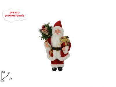 Babbo Natale colore rosso con sacco pieno di doni  e decorazioni 30 cm