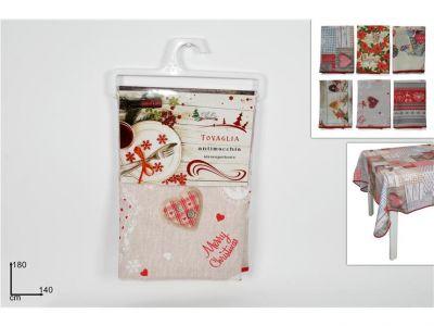 Tovaglia di natale antimacchia con decorazioni natalizie shabby 150cm x 180cm