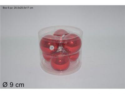 set 6 palline rosso lucide vetro ideale per addobbi natalizi 8cm