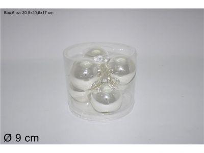set 6 palline di natale o sfere per albero argento 9cm