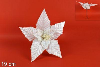 Fiore Velluto Con Pinzetta Bianco 19cm