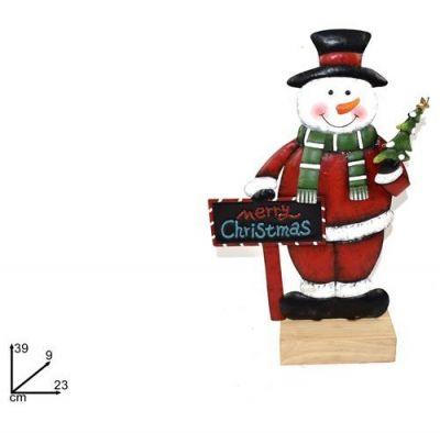 pupazzo di neve snowman con lavagnetta 39cm