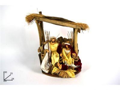 Natività con capanna rossa e oro  Gesu' , Giuseppe,Maria 30CM