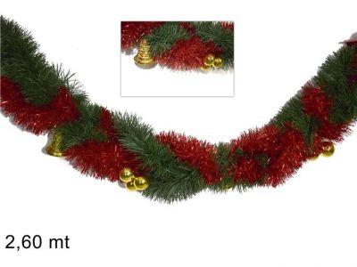 ghirlanda intrecciata filo inzeppato rosso con campanelline addobbi natalizi 250CM