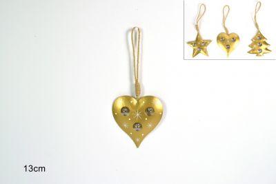 Appendino Metallo Natalizio a forma di cuore con campanelline 13cm