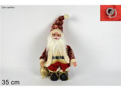 Babbo Natale in piedi vestito in tessuto rosso e oro  con carillon