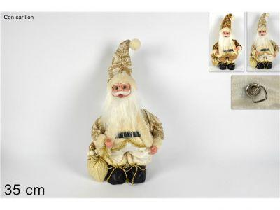Babbo Natale in piedi colore oro e bianco con carillon