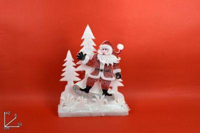 Scenario Natalizio con Babbo Natale in feltro 42cm