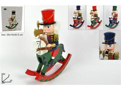 Soldato schiaccianoci o soldatino di natale con cavallo a dondolo 30 cm in legno