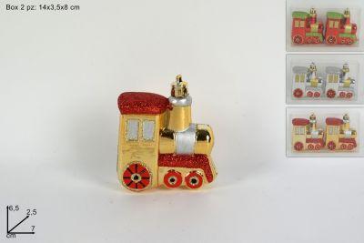 Appendini Locomotiva natalizia colore rosso e oro 6 cm