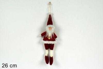 Babbo Natale rosso Tessuto Appendino 26cm