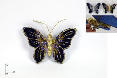 Farfalla Blu e dorata Con Pinzettata per albero di natale 12cm