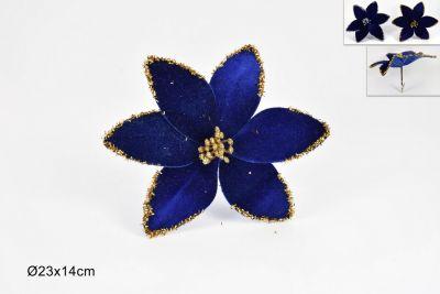 Fiore Velluto Con Pinzetta Blu 23cm