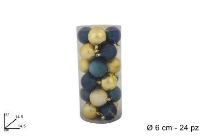 24 Palle Natalizie Blu/Oro 6 cm