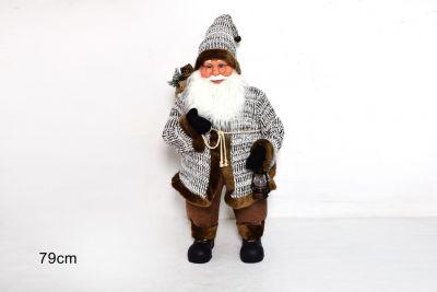 Babbo Natale Con Cappotto bianco a strisce e pelliccia marrone 79cm
