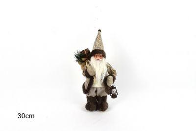 Babbo Natale Con Cappotto Pelle 30cm