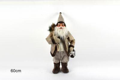 Babbo Natale Con Cappotto Pelle Color Dorato e Marrone 60cm