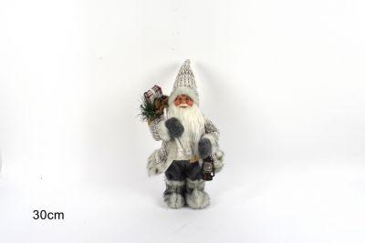 Babbo Natale Con Cappotto Lana 30cm