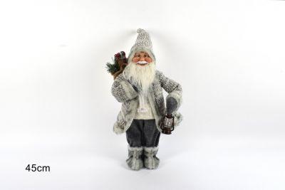 Babbo Natale Con Cappotto Lana 45cm