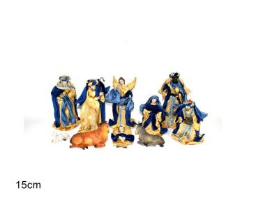 natività completa 10 personaggi con velluto blu e oro