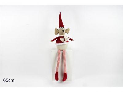 Pupazzetto di Natale, topo seduto con pelliccia rossa