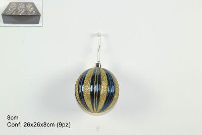set 9 Palle o sfere Natalizie Blu/Oro Glitterate 8 cm