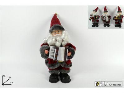 Babbo Natale con strumento musicale movimenti e musica 30cm rosso e grigio