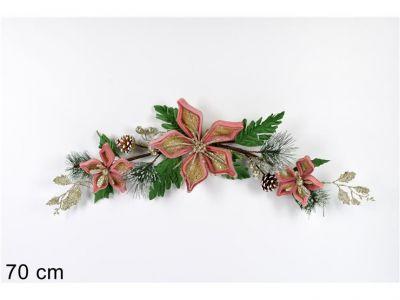 fascina natalizia dietro porta 70 cm fiore di natale rosa e pigne 70CM