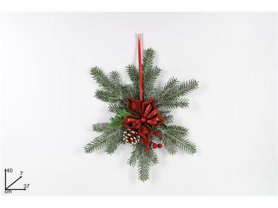 fuori porta natalizio con fiore rosso bacche e pigne appendino 40CM