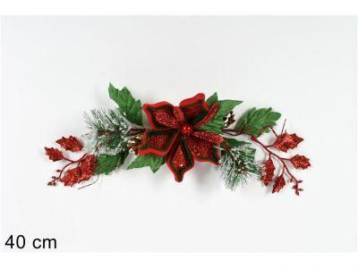 fascina di natale 40 cm fuori porta rosso con fiore natalizio