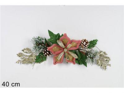 fascina fuori porta 40 cm con fiore rosa addobbi natalizi