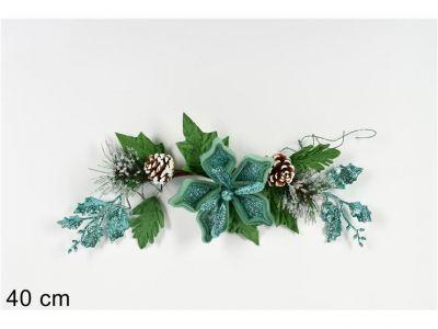 fascina dietroporta fiore natalizio glitterato 40 cm verde chiaro