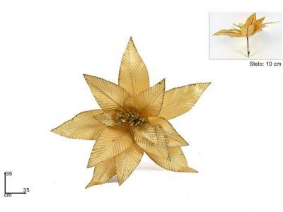 pinzone fiore di natale velluto 35 cm addobbi natalizi colore oro