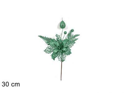 ramo fiore natalizio glitterato colore verde tiffany addobbi natalizi 30cm
