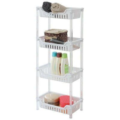 Scaffale in plastica per cucina o per bagno con 4 ripiani scaffale portaoggetti