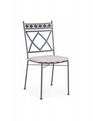 Sedia design Berkley da esterno in ferro e mosaico con cuscino arredo giardino Bizzotto