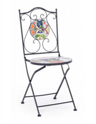 Sedia da esterno pieghevole Paloma  acciaio e decoro in ceramica arredo da giardino Bizzotto