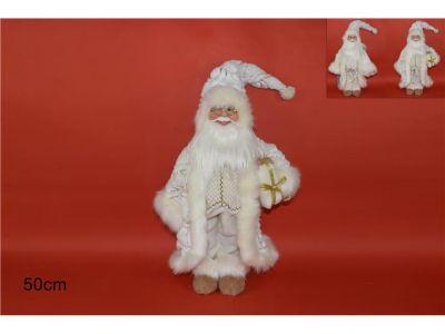 Babbo Natale in piedi con doni sotto braccio 50 cm con pelliccia