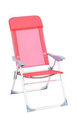 Poltrona sdraio arancione relax chair pieghevole reclinabile 5 posizioni in alluminio per mare piscina