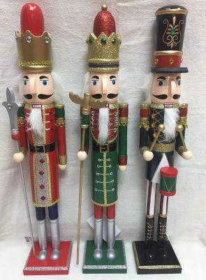 Soldato soldatino di Natale schiaccianoci in legno 50 cm decorazioni natalizie
