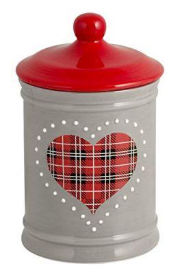 H&H Cuore Rosso Barattolo in Ceramica Altezza 16.5cm CC 600 Ceramica Grigio e Rosso 10x10x15 cm